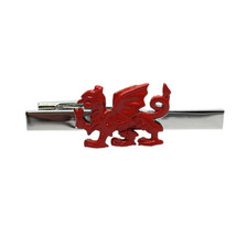 Red Welsh Dragon Welsh Dragon Wales design enamel finish,on silver tie clip