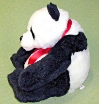 "Beta Toys PANDA BEAR 16"" Plush Stuffed Animal Black White Red Ribbon SOF... - $18.69"