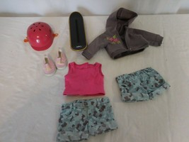 American Girl Doll Skateboard Set Outfit Hoodie Camo 2008 Helmet Skateboard - $35.67