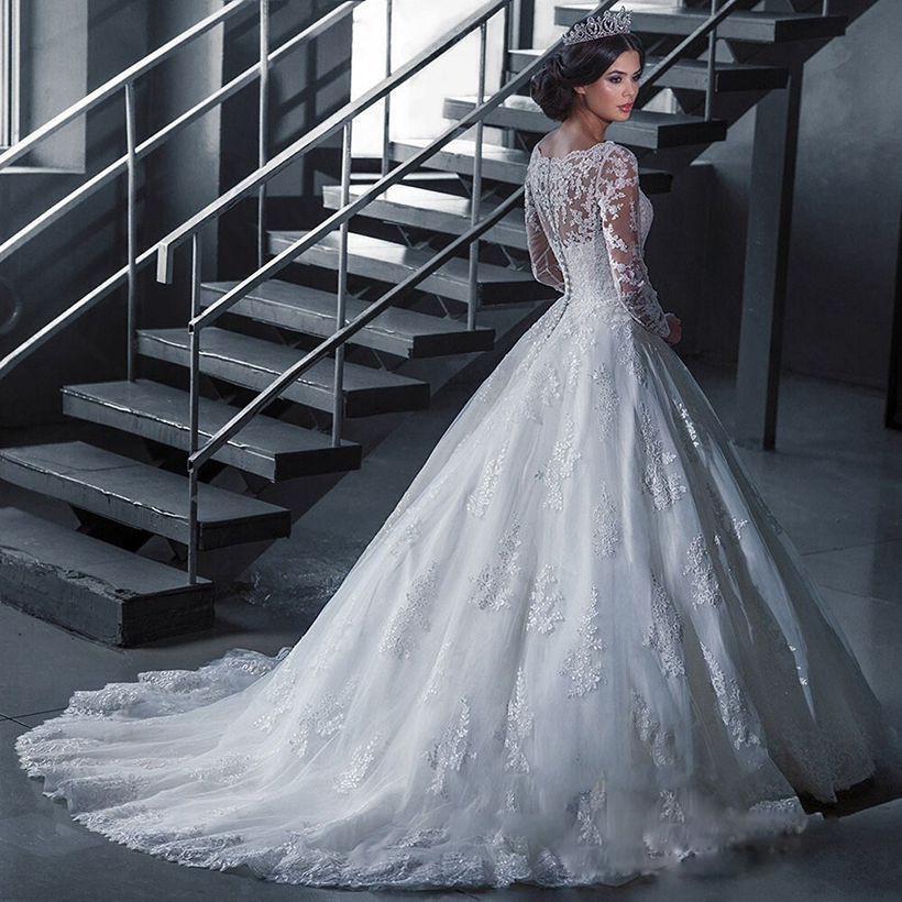 Long Sleeves lace Wedding Dresses Sexy Back Bride Dresses Princess Wedding Dress