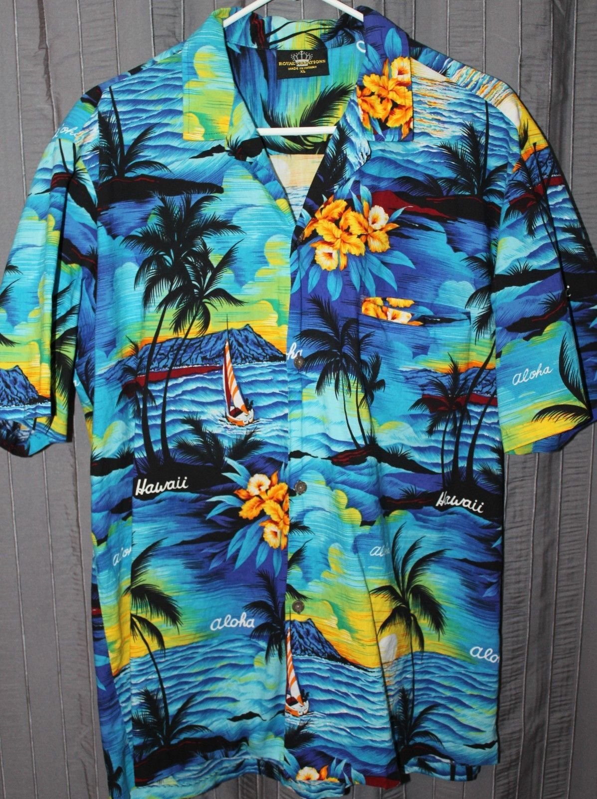 Royal Creations Hawaiian Mens Shirt XL Palms Sunset Aloha Orchid