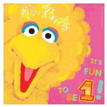 Sesame Street 36 Lunch Napkins Value Pack 1st Birthday Big Bird - $10.49