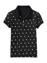 GAP Kids Girls Polo Shirt Sz M 8 Short Sleeve Navy Blue Floral Trim Piqu... - $15.83