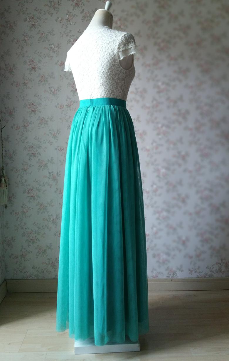 Maxi tulle skirt wedding green 60a 4