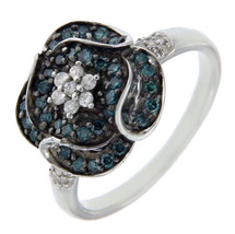 Solid Sterling Silver White & Green Diamond Flower Ring»R216 - £194.50 GBP