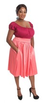Pink Coral Full Skirt w Pockets - Size S to 3X - Elastic Waist - Hey Viv... - £21.32 GBP