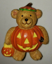 Vintage Avon Halloween Vintage Bear Jol Pumpkin Costume Holiday Brooch Pin - $9.99