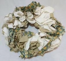 Sunflower Wreath Green Gingham Fabric Khaki with Cream Polka Dots Handmade - $20.00