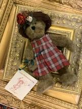 Boyds Bear Lizzy Wishkabibble Teddy Bear Hat Book Tags 50002 Jointed 2000 New - $15.26