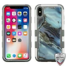 For APPLE iPhone XS/X Blue Agate Marble/Gray TUFF Krystal Gel Hybrid Cas... - $13.39