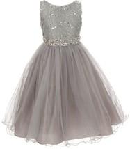 Flower Girl Dress Glitters Sequin Top Rhinestone Sash Silver MBK 340 - $47.99