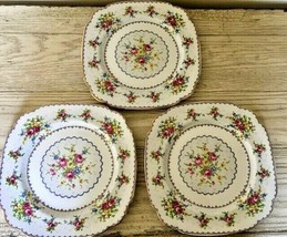 Royal Albert Petit Point 3 Square Dinner Plates Set Needlepoint England ... - $56.09