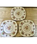 Royal Albert Petit Point 3 Square Dinner Plates Set Needlepoint England ... - $56.09