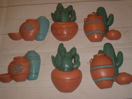 Vtg Set Of 6 Burwood 3139 1991 Small Southwest Wall Plaques Cactus Pots - €16,71 EUR