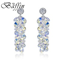 BAFFIN Luxury Tassel Crystals From SWAROVSKI Drop Earrings Women Wedding... - $30.17