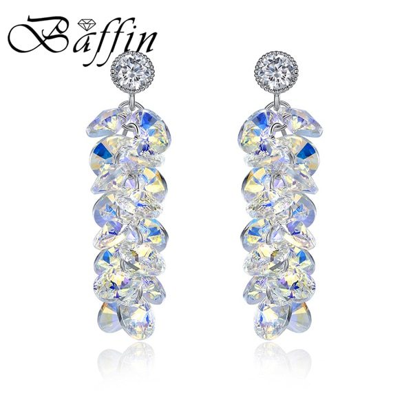 Tals from swarovski drop earrings women wedding party fashion accessories silver colors piercing