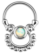 Five Pronged Opalites 316L Surgical Steel Septum Clicker Ring - $4.99