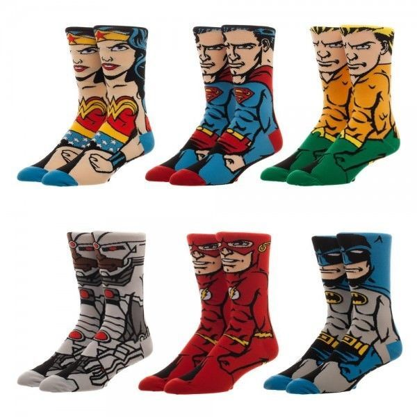 Justice League 360 Character Dc Comics Crew Socks 6 Pack Gift Box Nwt