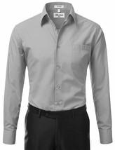 Berlioni Italy Men's Premium Classic Standard Cuff Light Grey Dress Shirt - M image 2