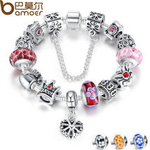 Christmas European Silver Heart Charm Bracelet DIY With Red Beads Luxury... - $13.44