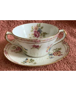 Vintage GDA Limoges France Double Handle Tea Cup & Saucer Set Pink Flora... - $34.64
