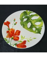 Pier 1 Imports Salad Plate Ironstone Tropical Retired 8.75 Inch Orange G... - $19.79