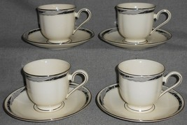 1990s Set (4) Lenox CITY CHIC PATTERN Cups and Saucers MADE IN USA - $29.69