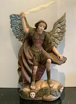 """Impressive 26"""" Carved Wood Polychrome Statue of the Archangel Michael Gl... - $599.00"""