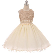 Taupe Sequin Bodice Wired Tulle Skirt See-Through Front Waist Line Girl Dress - $42.00