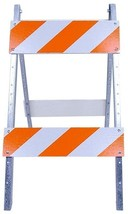 Traffic Street Barricade Wood and amp; Metal Safety Road Sign Stand Refl... - $40.02
