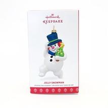 Hallmark Keepsake Ornament Jolly Snowman Blown Glass Christmas 2017 - $18.51