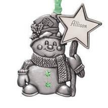 Pewter Birthstone Snowman Ornament-plainfeb - $11.49