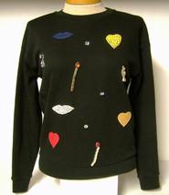 Stella McCartney Iconic Black Embellished Heart Lips Sweatshirt Sz. XS/36 - $841.50