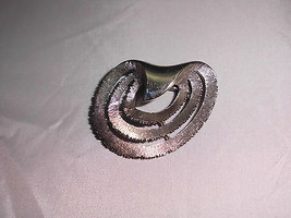 VTG JJ Signed Silver Tone Textured Modern Modernist Brooch Pin - $14.85