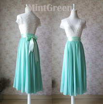 MINT GREEN Full Circle Long Chiffon Skirt Plus Size Mint Wedding Chiffon Skirt image 2