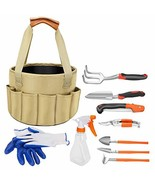 Garden Tool Set, 10 Piece Heavy Duty Gardening Tools with Gardening Rake... - $39.25