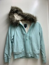 Gap Kids Teal Fleece Hoodie Size Xxl 14-16 Zip Sweatshirt Jacket Faux Fur Lined - $37.39