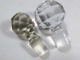 VTG lot of 2 clear Glass faceted perfume oil scents bottle decanter Stop... - $20.20