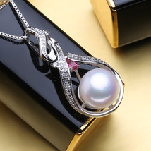 Natural Freshwater Pearl Pendants necklaces 925 Sterling Silver Ruby Pen... - $22.00