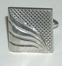 Vintage Swank Silver Tone Stripe & Check Replacement Missing Cufflink - $9.87