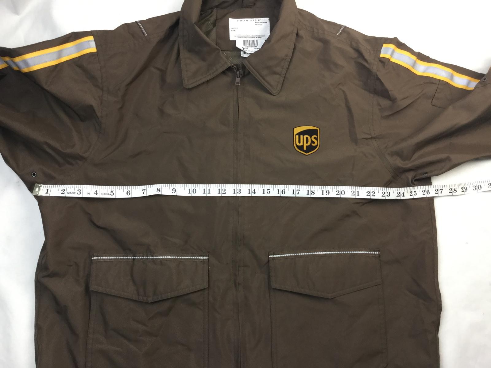 UPS Long Sleeve Full Zip Brown Rain Jacket Adult Men's Size L  (42-44) large  image 2