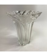 """Mikasa Crystal Parisian Ivy Fluted Swirl Vase Clear With Frosted Ivy 8.5 """" - $14.84"""