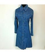 Vintage 1970s Landlubber size M L Blue Denim Snap Front Western Hippy Dr... - $54.95