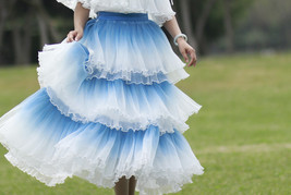 Blue Tiered Tulle Skirt Outfit High Waisted Long Tulle Skirt Holiday Tulle Skirt image 9