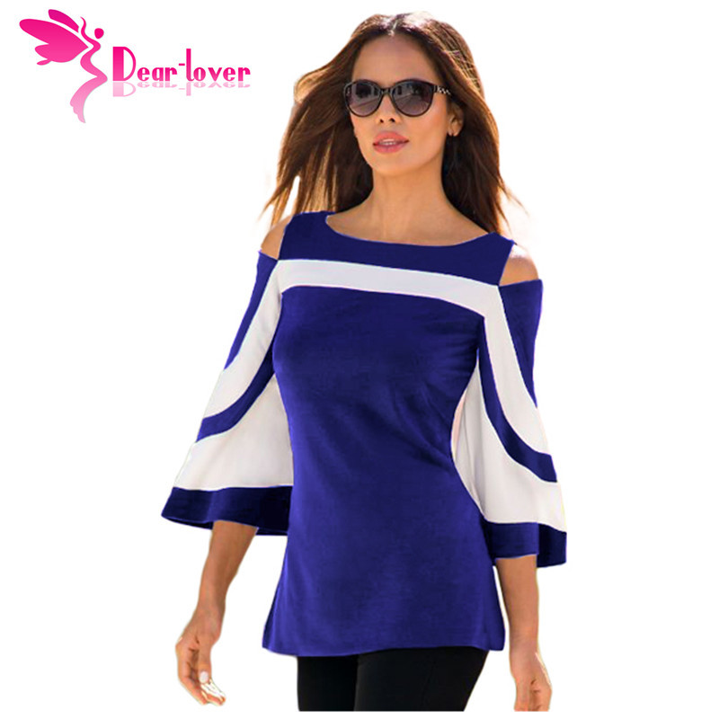 DearLover Women Blouse Black White Colorblock Bell Sleeve Cold Shoulder Top Muje image 3