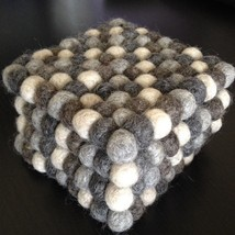 10cm Nepalese Handmade Woolen Natural Color Felt Ball Square Tea Coaster... - $7.91+