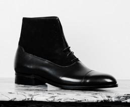 Handmade Men Ankle Boots Men Black Lace Up Boot Men Ankle Leather Cap Toe Boots - $179.99