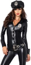 Leg Avenue Women's 4 Piece Officer Payne Lame Police Jumpsuit Costume image 3