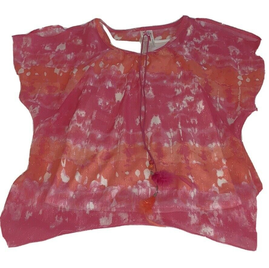 Girls Size 14 Justice Pink Coral Tie Dyed Cold Shoulder Blouse Layered Tank Top - $17.00