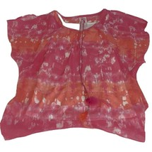 Girls Size 14 Justice Pink Coral Tie Dyed Cold Shoulder Blouse Layered T... - $17.00